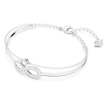 Kruhový náramek Swarovski Infinity, bílý, rhodiovaný - Swarovski, 5520584