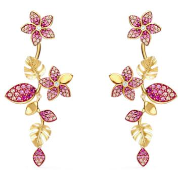 Náušnice Tropical Flower, růžové, pozlacené - Swarovski, 5520648
