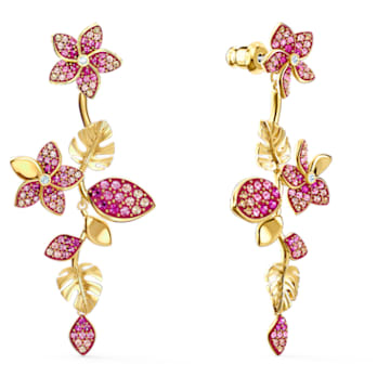 Tropical Flower Pierced Earrings, Pink, Gold-tone plated - Swarovski, 5520648