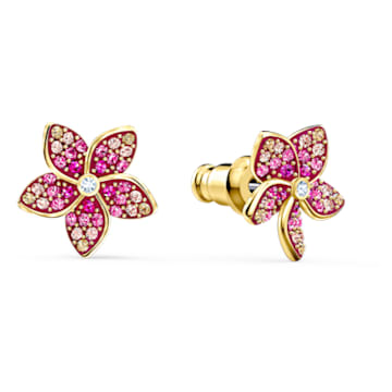 Tropical Flower bedugós fülbevaló, rózsaszín, arany árnyalatú bevonattal - Swarovski, 5520648