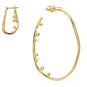 Boucles d'oreilles Shell, large, multicolore clair, métal doré - Swarovski, 5520663
