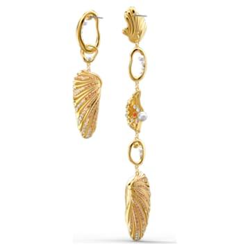 Shell Angel pierced earrings, Shell, Multicolored, Gold-tone plated - Swarovski, 5520664
