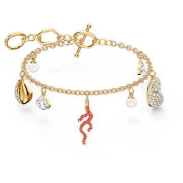 Shell Coral bracelet, Shell, Red, Gold-tone plated - Swarovski, 5520673