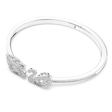 Dancing Swan Bangle, White, Rhodium plated - Swarovski, 5520713
