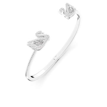 Dancing Swan Жёсткий браслет, Белый Кристалл, Родиевое покрытие - Swarovski, 5520713