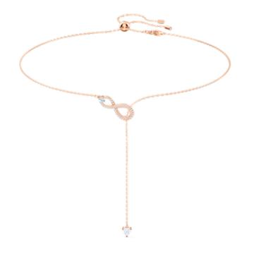 Collier en Y Swarovski Infinity, blanc, métal doré rose