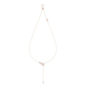 Swarovski Infinity Y Necklace, White, Rose-gold tone plated - Swarovski, 5521346