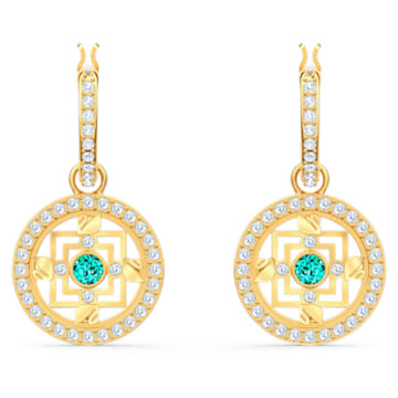 Créoles Swarovski Symbolic Mandala, vert, métal doré - Swarovski, 5521446