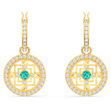 Swarovski Symbolic Mandala bedugós karika fülbevaló, zöld, arany árnyalatú bevonattal - Swarovski, 5521446
