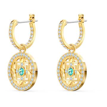 Swarovski Symbolic Mandala 穿孔耳環, 綠色, 鍍金色色調 - Swarovski, 5521446
