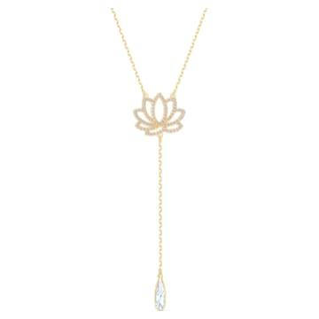 Swarovski Symbolic Lotus Halskette, weiss, vergoldet - Swarovski, 5521468