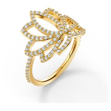Swarovski Symbolic Lotus Ring, White, Gold-tone plated - Swarovski, 5521497