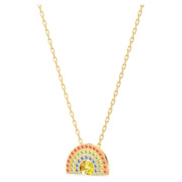 Swarovski Sparkling Dance Rainbow 項鏈, 淺色漸變, 鍍金色色調 - Swarovski, 5521756