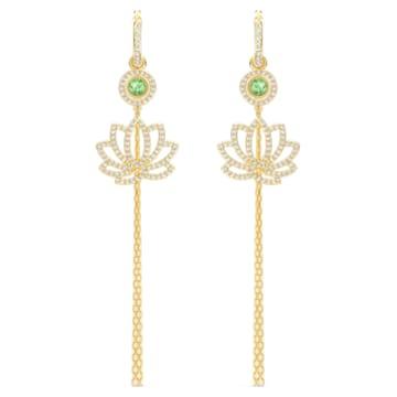 Swarovski Symbolic Lotus Ohrringe, grün, vergoldet - Swarovski, 5522840