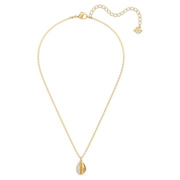 Shell Pave Pendant, White, Gold-tone plated - Swarovski, 5522886