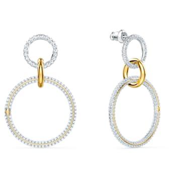 Boucles d'oreilles Stone Hoop, Blanc, Finition mix de métal - Swarovski, 5523991