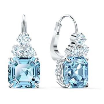 Sparkling 穿孔耳環, 海藍色, 鍍白金色 - Swarovski, 5524139