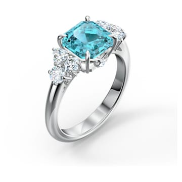 Bague Sparkling, aiguemarine turquoise, métal rhodié - Swarovski, 5524141
