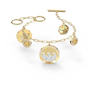 Shine Coins bracelet, Multicoloured, Gold-tone plated - Swarovski, 5524188