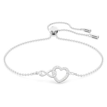 Swarovski Infinity Heart 手鏈, 白色, 鍍白金色 - Swarovski, 5524421