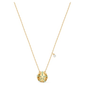 Shine Urchin medál, Zöld, Aranytónusú bevonattal - Swarovski, 5524663