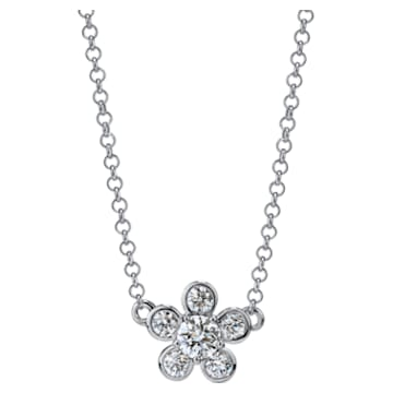 Bloom Necklace, Swarovski Created Diamonds, 18K White Gold - Swarovski, 5524687
