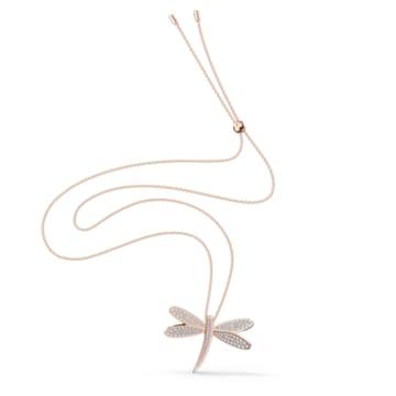 Eternal Flower Necklace, White, Rose-gold tone plated - Swarovski, 5524856