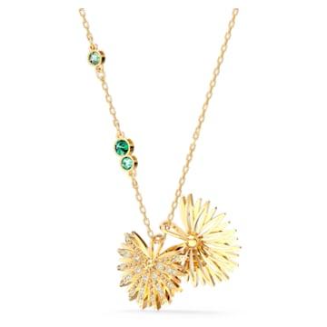 Swarovski Symbolic Palm Necklace, Green, Gold-tone plated - Swarovski, 5525086