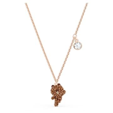 Line Friends Skate Necklace, Brown, Rose-gold tone plated - Swarovski, 5525825