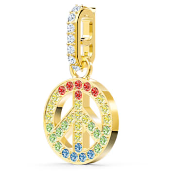 Swarovski Remix Collection charm, Peace, Multicoloured, Gold-tone plated - Swarovski, 5526998
