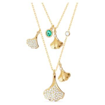 Stunning Gingko Halskette im Lagenlook, grün, vergoldet - Swarovski, 5527079