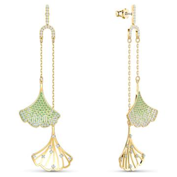Stunning Gingko Mobile bedugós fülbevaló, zöld, aranyszínű bevonattal - Swarovski, 5527080