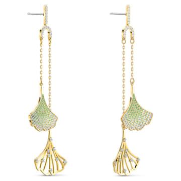 Stunning Gingko Mobile Pierced Earrings, Green, Gold-tone plated - Swarovski, 5527080