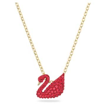 Swarovski Iconic Swan pendant, Swan, Small, Red, Gold-tone plated - Swarovski, 5527407