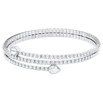 Twisty Bangle, White, Rhodium plated - Swarovski, 5528443