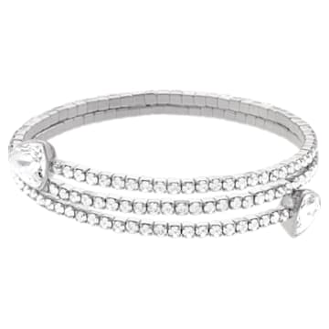 Twisty Bangle, White, Rhodium plated - Swarovski, 5528444