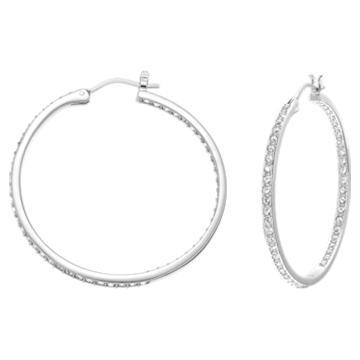 Sommerset Hoop 穿孔耳环, 白色, 镀铑 - Swarovski, 5528457