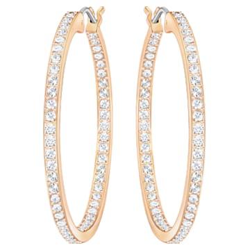 Sommerset Hoop 穿孔耳环, 白色, 镀玫瑰金色调 - Swarovski, 5528459