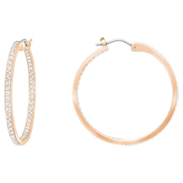 Pendientes de aro Sommerset, blanco, Baño en tono Oro Rosa - Swarovski, 5528459