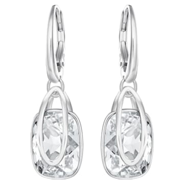Boucles d'oreilles Holding, blanc, Métal rhodié - Swarovski, 5528487