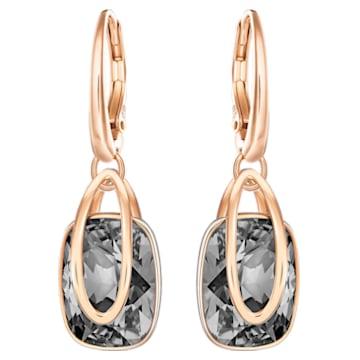 Holding 穿孔耳環, 黑色, 鍍玫瑰金色調 - Swarovski, 5528488