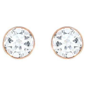 Forward 穿孔耳环花托, 白色, 镀玫瑰金色调 - Swarovski, 5528490