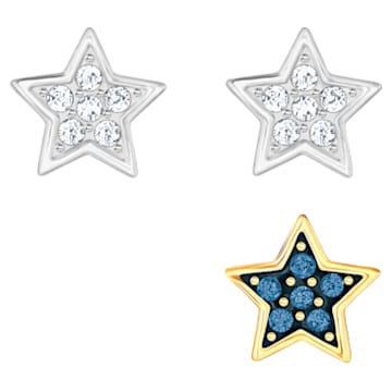 Crystal Wishes Star Set pierced earring, Star, Multicolored, Mixed metal finish - Swarovski, 5528498