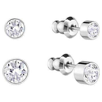 Harley Pierced Earring Set, White, Rhodium plated - Swarovski, 5528504