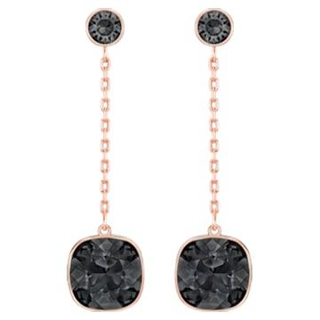 Boucles d'oreilles Lattitude Chain, Noir, Métal doré rose - Swarovski, 5528512