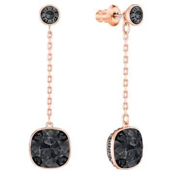 Lattitude Chain 穿孔耳環, 黑色, 鍍玫瑰金色調 - Swarovski, 5528512