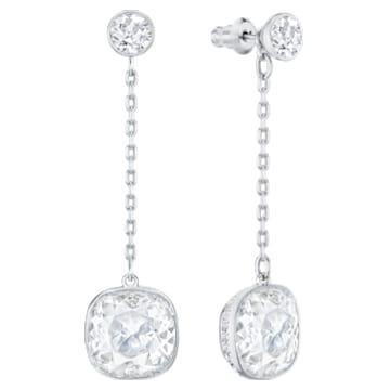 Boucles d'oreilles chaîne Lattitude, blanc, Métal rhodié - Swarovski, 5528513