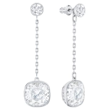 Lattitude Chain 穿孔耳环, 白色, 镀铑 - Swarovski, 5528513