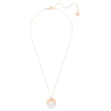 Pendente Circle, Bianco, Placcato color oro rosa - Swarovski, 5528565