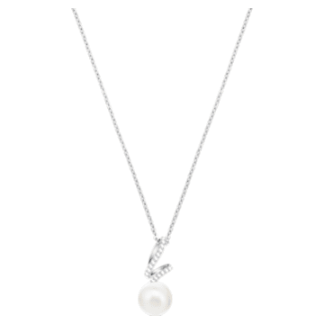 Gabriella Pearl 鏈墜, 白色, 鍍白金色 - Swarovski, 5528731